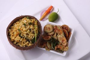 KOKUM AND COCONUT CHITRANNA WITH SPINY GOURD CRISPIES
